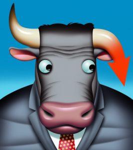 Markets, down, wall street, bull, horns